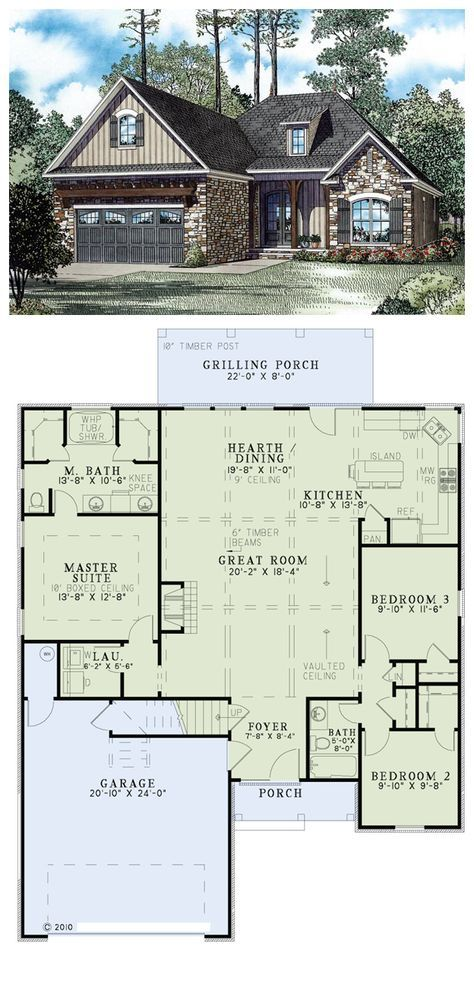 Tuscan Style House Plan with 3 Bed 2 Bath 2 Car Garage