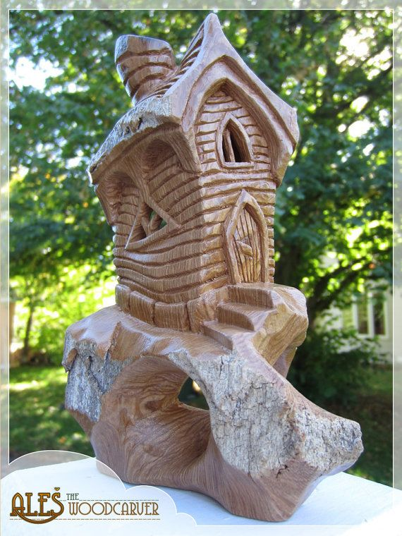 Fairy cottage whimsical house cottonwood bark carving
