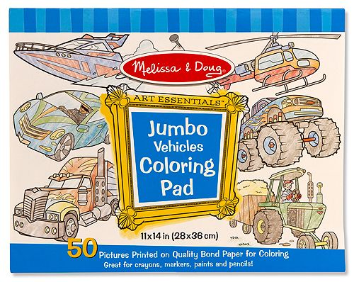 Jumbo Coloring Pad - Vehicles | Toys for 3-4 year olds | Melissa and ...