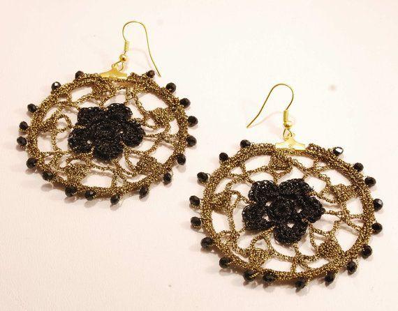 Dangle Fancy Crochet Hoop Earrings, Black, Dark Gold, gift for Her, gift for teens, Wedding jewelry, Stocking stuffer, Gift under 25euros,  #25euros #Black #Crochet #Dangle #dark #diyhooperringsthread #Earrings #Fancy #Gift #GOLD #Hoop #jewelry #Stocking #Stuffer #teens #wedding