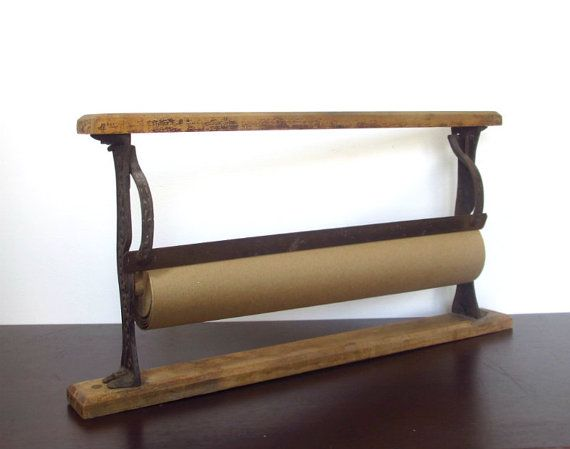 vintage paper roll cutter butcher general store cast iron wooden wrapping