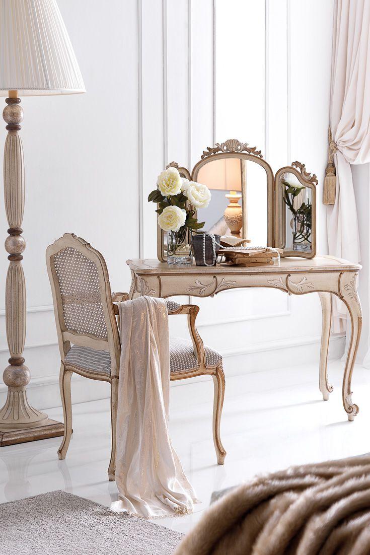 Best Ornately Carved Italian Designer Small Dressing Table Set 640 x 480