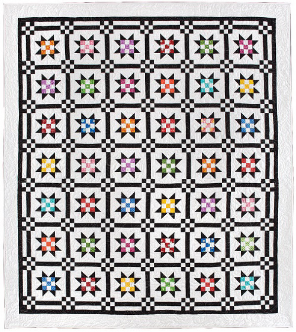 Dexter Quilt Pattern Download is part of Quilt patterns, Quilts, Quilting projects, Quilt pattern download, Star quilt blocks, Scrap quilts - Just because you're making a classic block doesn't mean you have to use traditional fabric! In this quilt, bright scraps form the centers of traditional star blocks