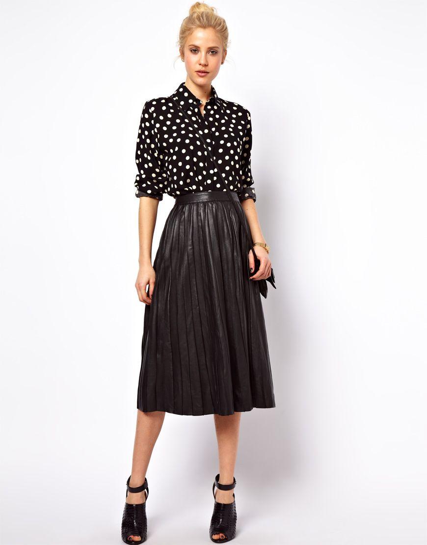 6c7b7e08df Falda midi de cuero plisada negra de Asos en 2019
