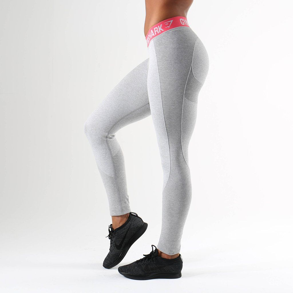 1ce5a23830783 Gymshark Flex Leggings - Light Grey Marl/Sherbet Pink | gym wear ...