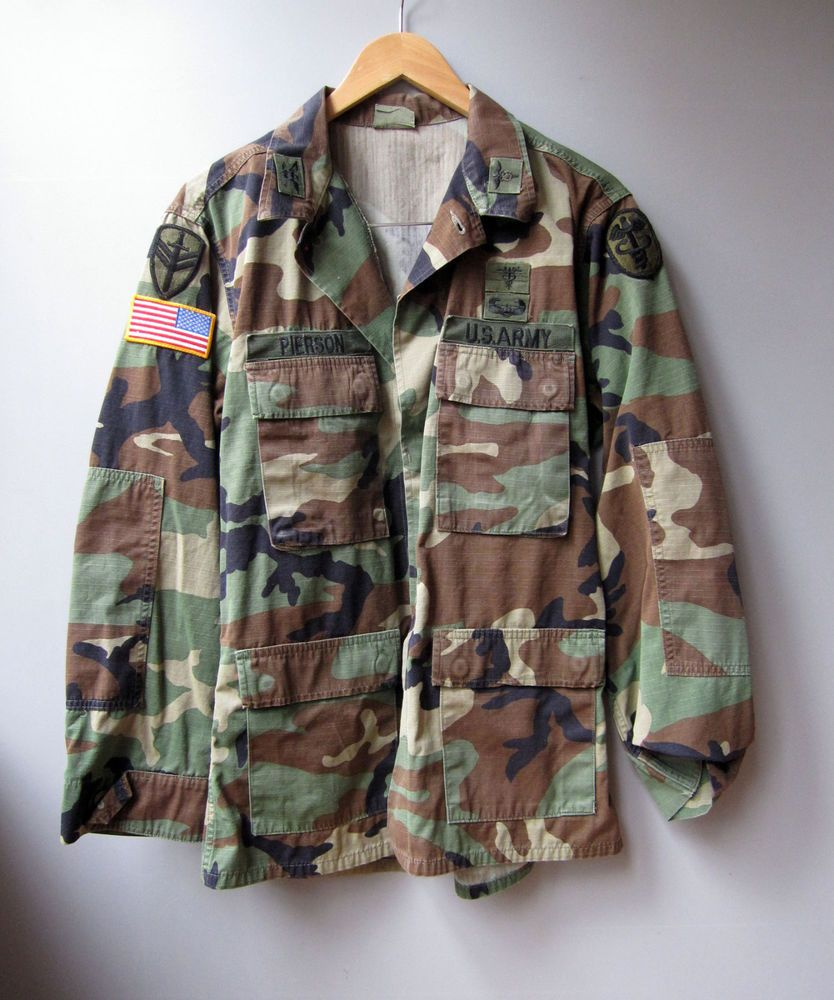 Vtg Army Camo Jacket Shirt Camouflage Military Patch Used Surplus Size Medium Military Military Camojack Stylish Mens Outfits Mens Attire Camoflauge Jacket