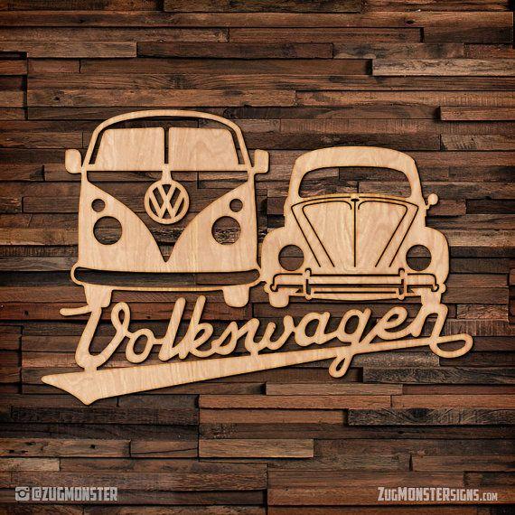 volkswagen bus bug wood hanging wall art busse vw. Black Bedroom Furniture Sets. Home Design Ideas
