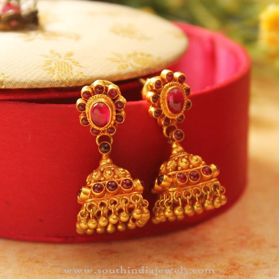 Gold Light Weight Antique Jhumka | South india, Blouse designs and ...