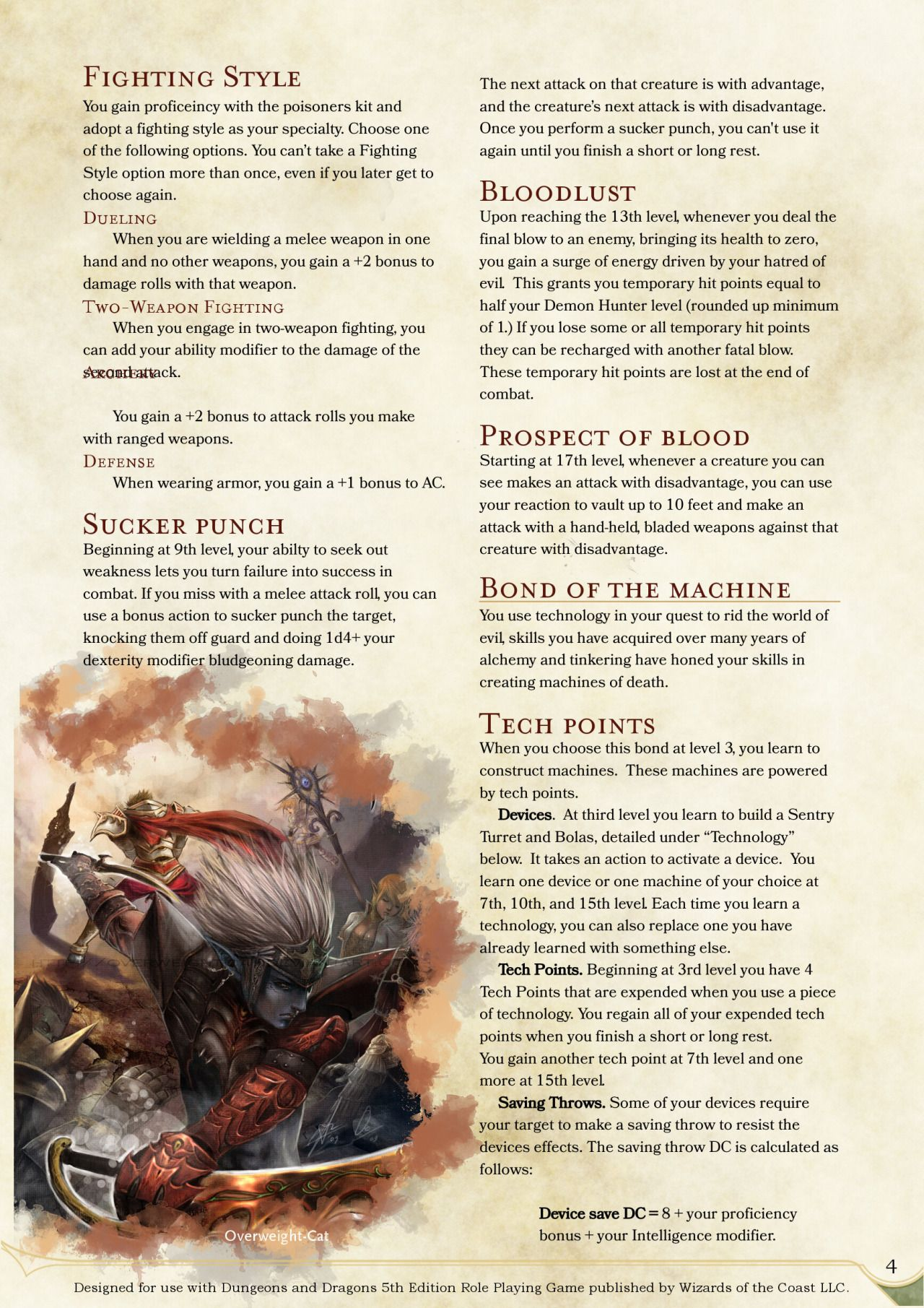 Hunter Class Homebrew Dnd 5e Character Blood - Year of Clean