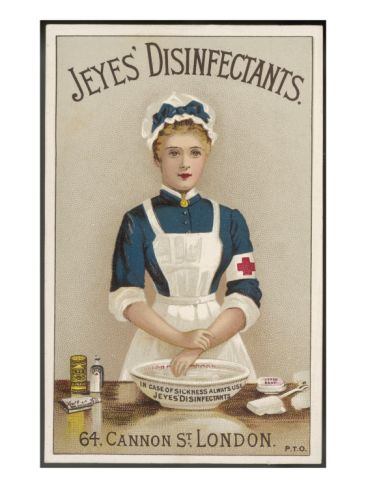 A Nurse Washes Her Hands with Jeyes' Disinfectant Giclee Print at Art.com