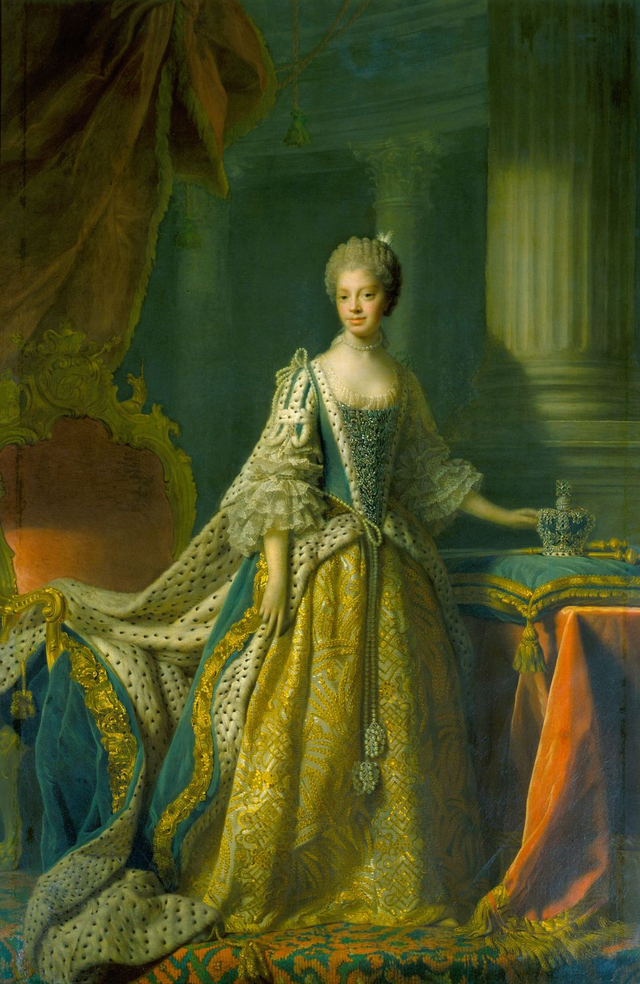 Charlotte of Mecklenburg-Strelitz (Sophia Charlotte; 19 May 1744 – 17 November 1818) was the wife of King George III. She was the youngest daughter of Duke Charles Louis Frederick of Mecklenburg-Strelitz, Prince of Mirow and his wife Princess Elizabeth Albertine of Saxe-Hildburghausen. Mecklenburg-Strelitz was a small north German duchy in the Holy Roman Empire.