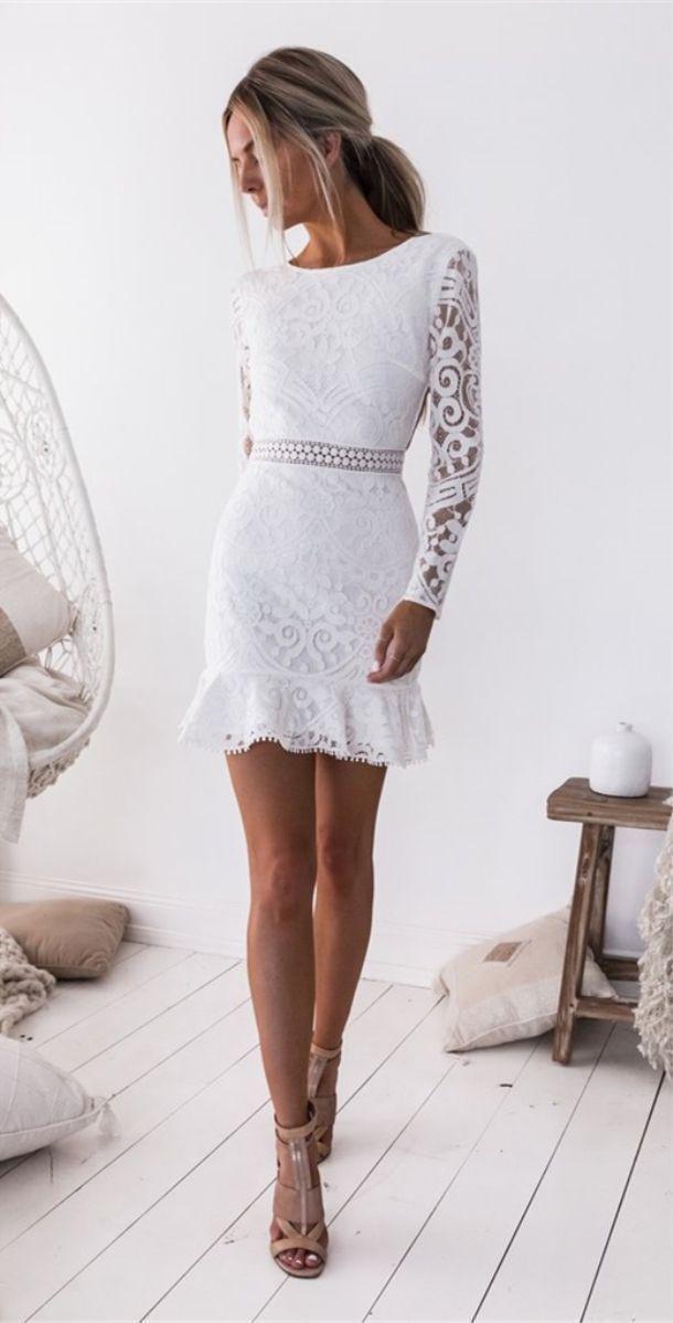 schicke weiße Spitze kurze Heimkehr Kleider für Teenager ...