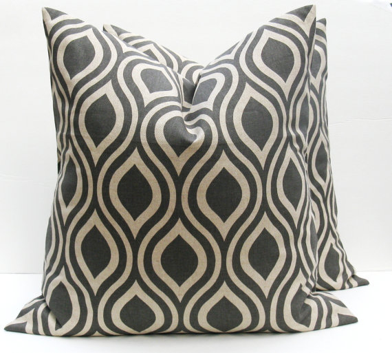 Throw Pillow Covers Gray Pillow Dark Gray ONE 24X24 by EastAndNest