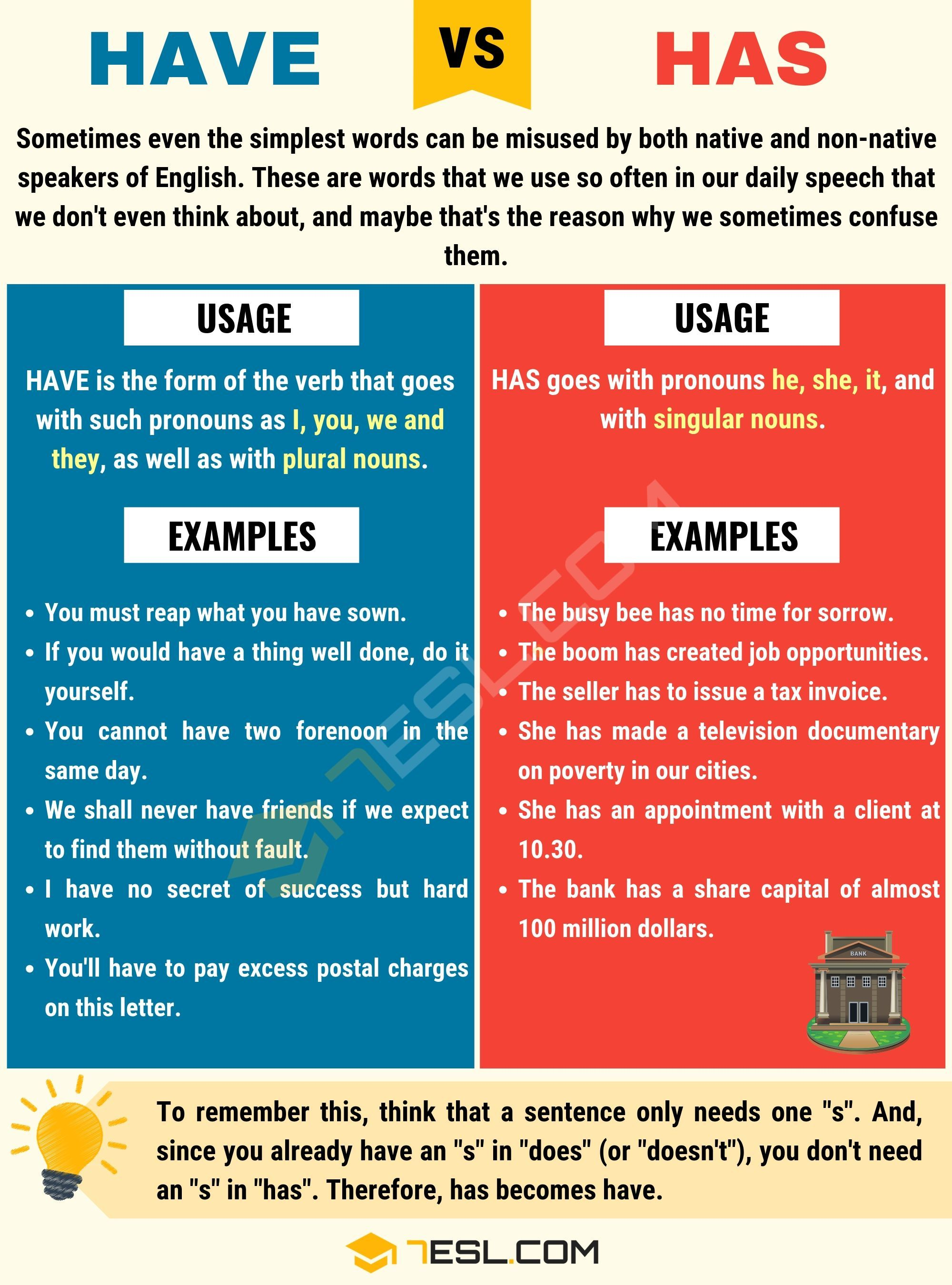 Has Vs Have How To Use Have Vs Has With Useful Examples