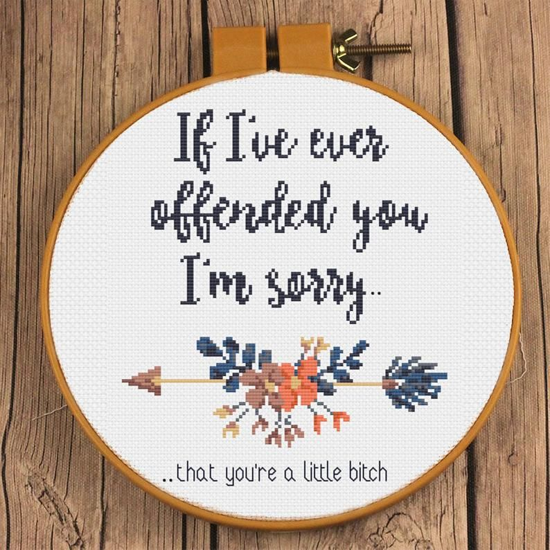 Photo of I'm sorry you're a little b-tch Sarcastic Floral Cross Stitch Design | If I've ever offended you, I'm sorry Snarky Sweary XStitch Pattern