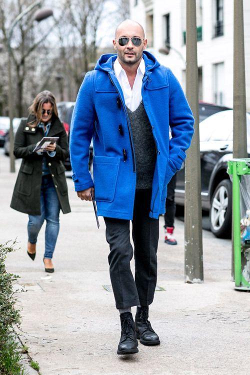 Men's Blue Duffle Coat, Charcoal Crew-neck Sweater, White Long ...