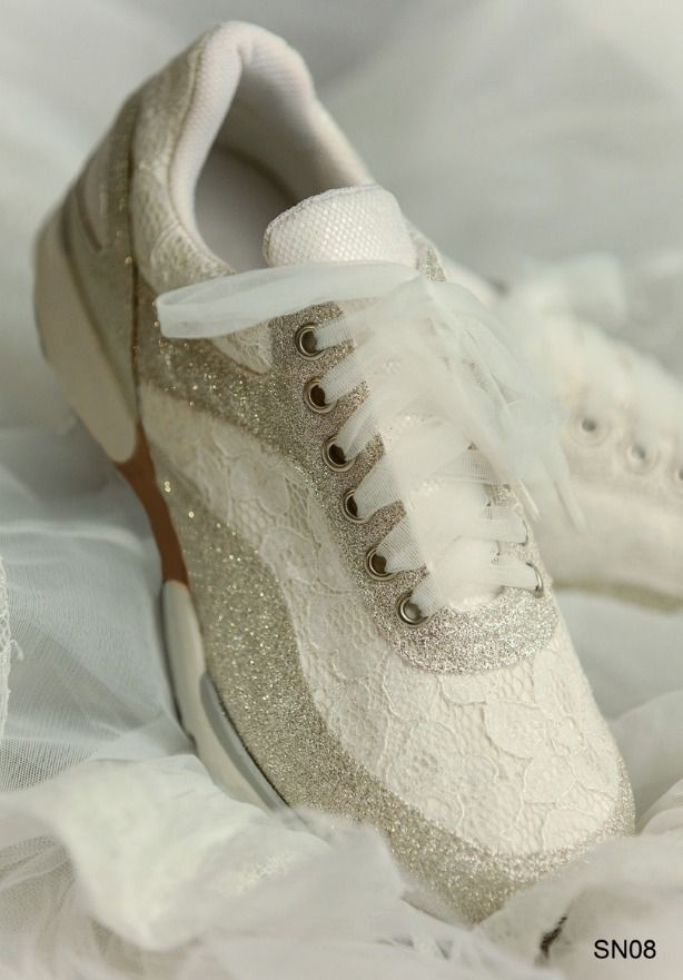 Gold Glitter Lace Wedding Sneakers  445953fee6ef