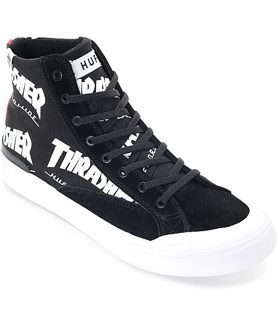 72f0e553f39ac Part of the limited edition HUF x Thrasher Tour De Stoops collaboration  collection. Upper consists of durable black suede and black canvas  sidewalls.