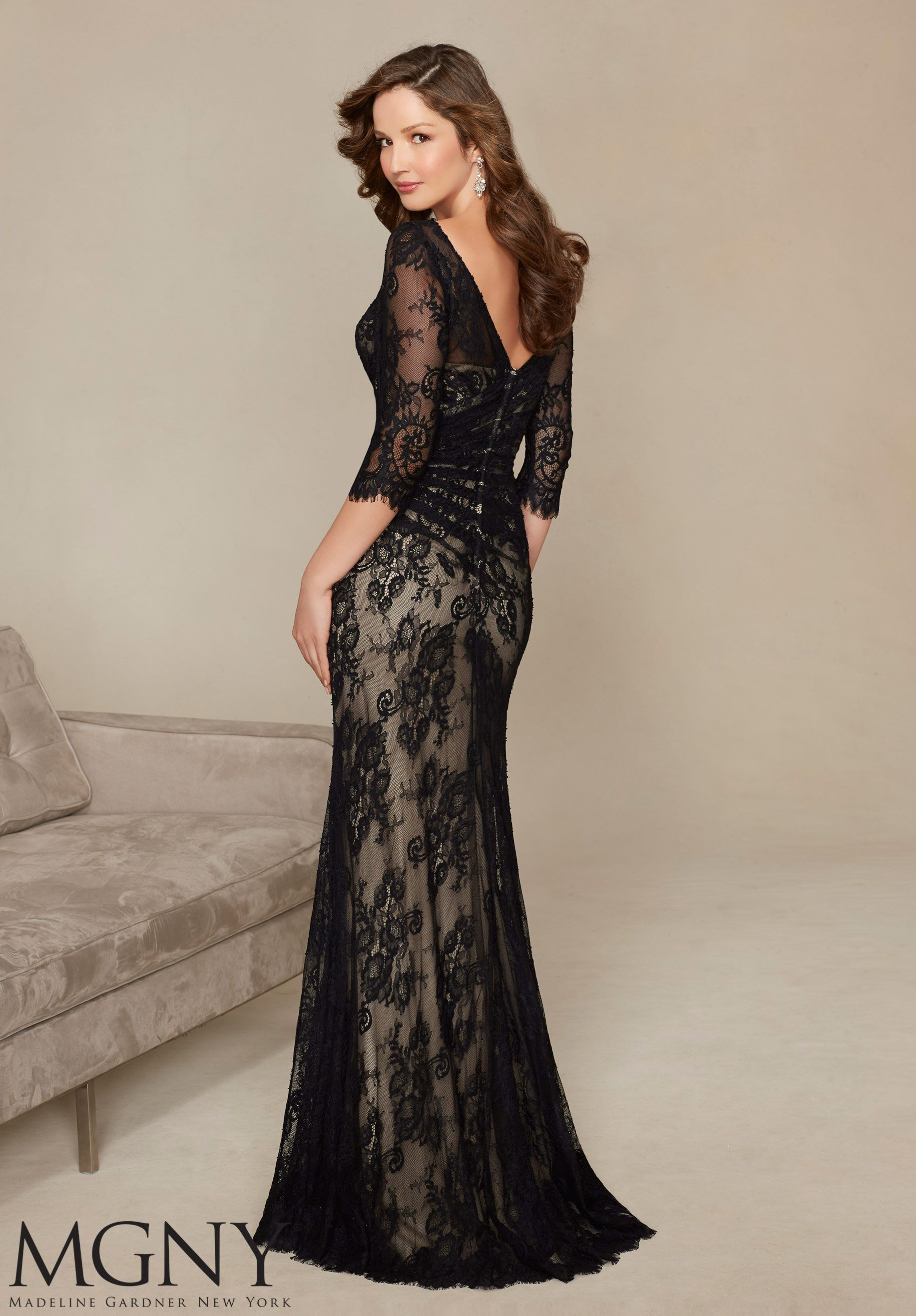 ae5eb269ed8 Evening Gown 71313 Allover Lace with Beaded Appliqu