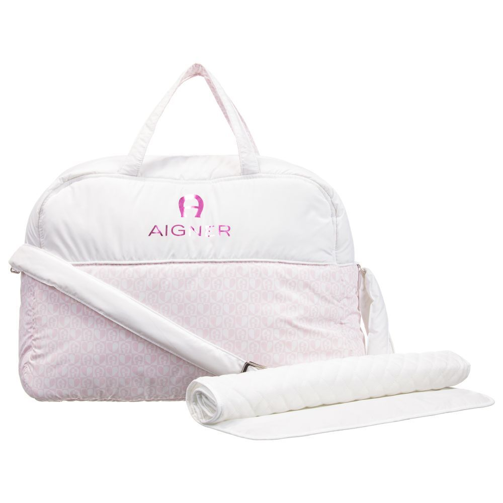 60617d27e9 White Baby Changing Bag (41cm) for Girl by Aigner Kids. Discover more  beautiful designer Bags for kids online