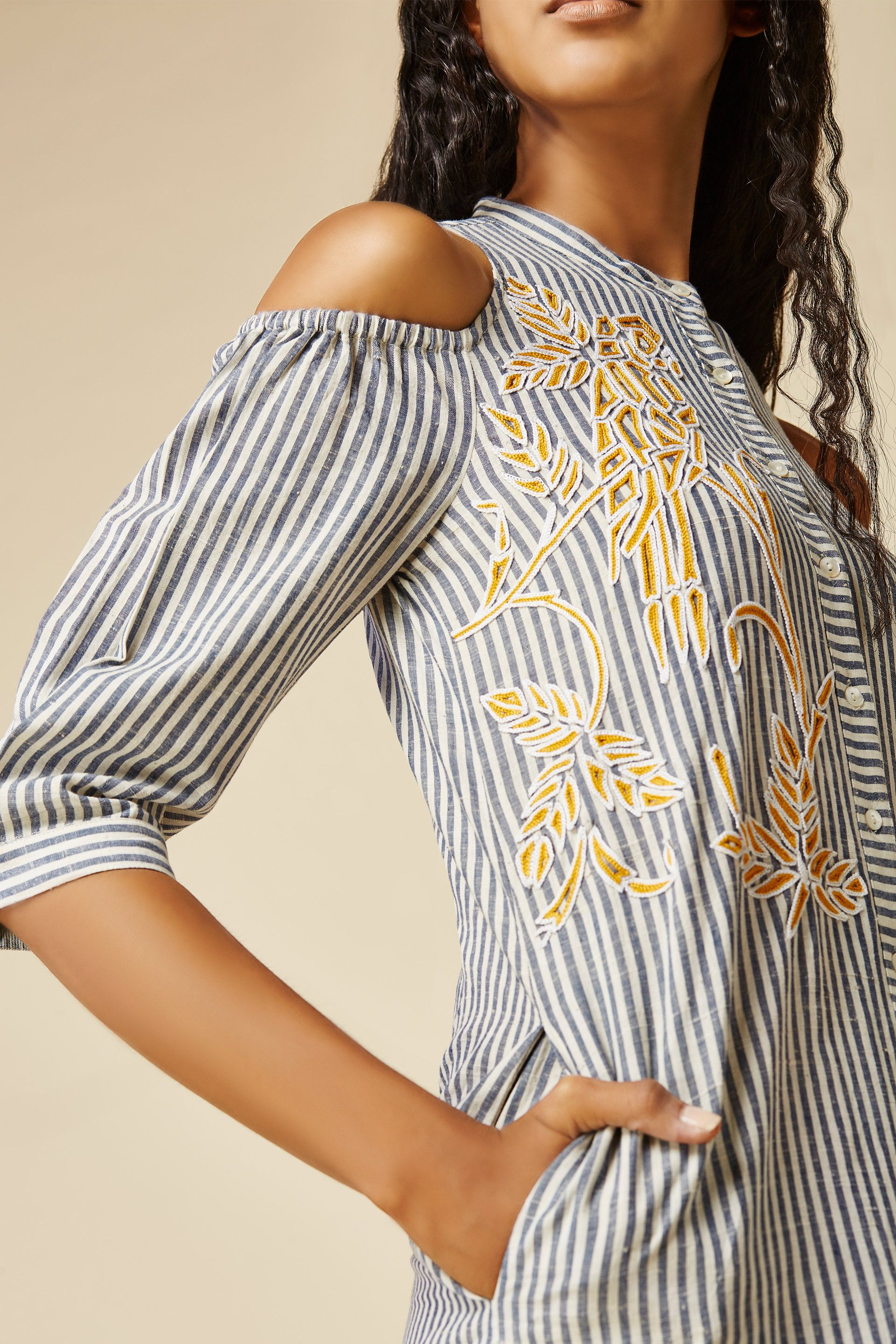 Embroidered Button Down Striped Dress