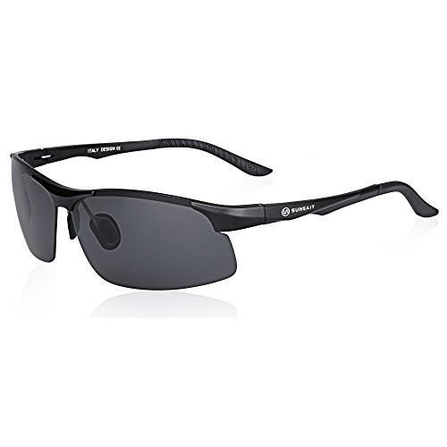 c685a12ce4b SUNGAIT Driving Sunglasses for Men HD Polarized Lens Fit Fishing Cycling  Black Frame Gray Lens    Continue to the product at the image link.