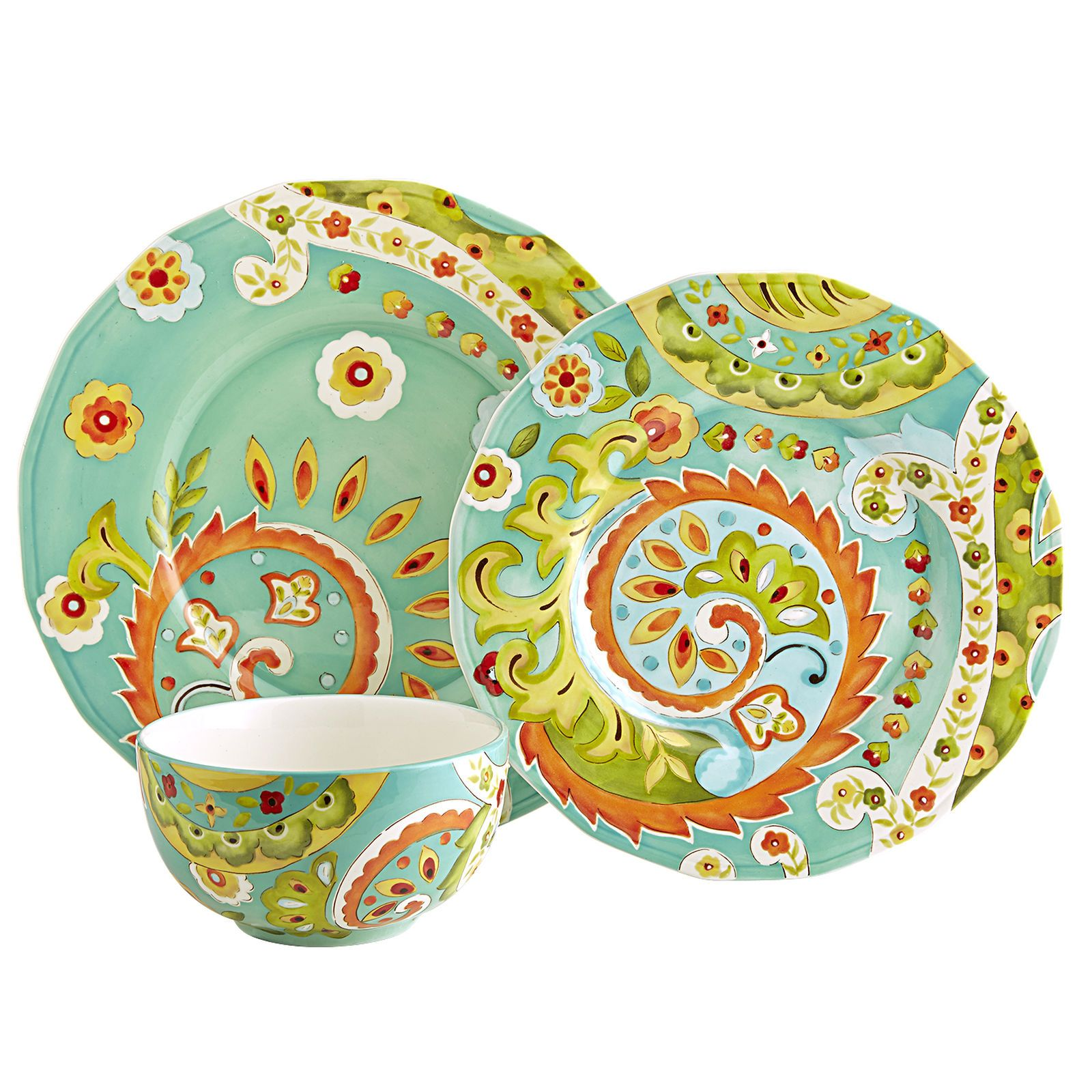 Bianca Paisley Dinnerware Dinner Plates (2), Salad Plates (2)