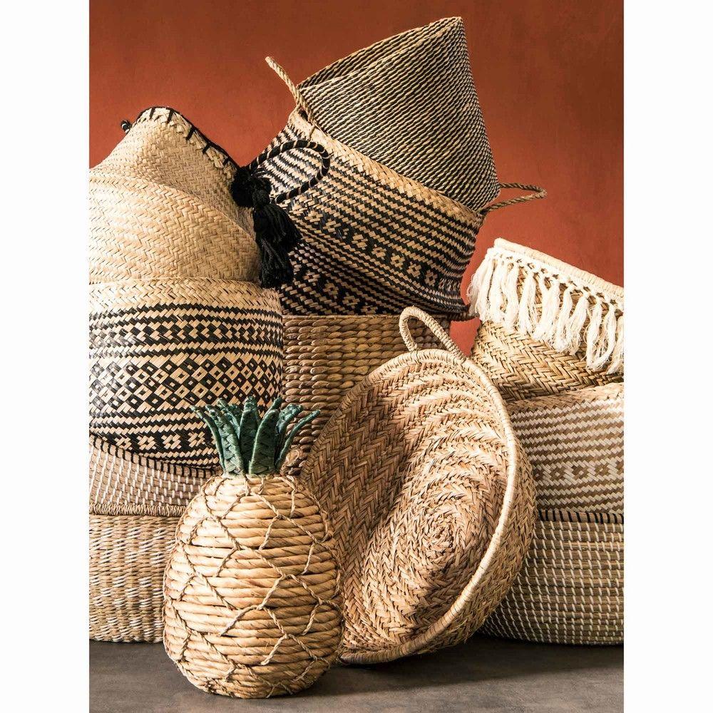 96c263fb81ba77 Panier thaïlandais en fibre végétale motifs ethniques noirs   Maisons du  Monde
