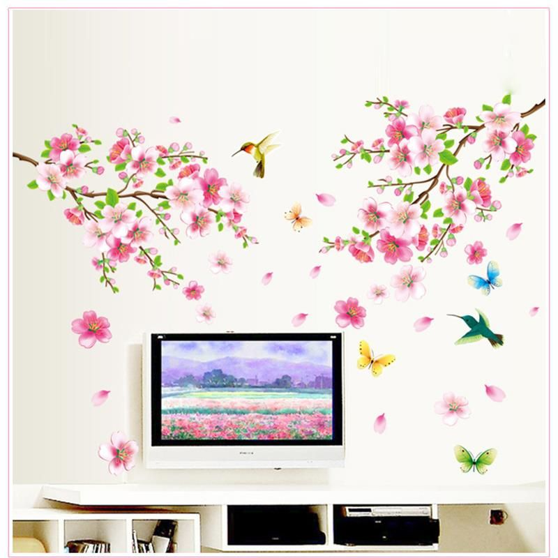 Hot sell sakura flowers wall stickers tv background room decorations diy home decals removable mural art