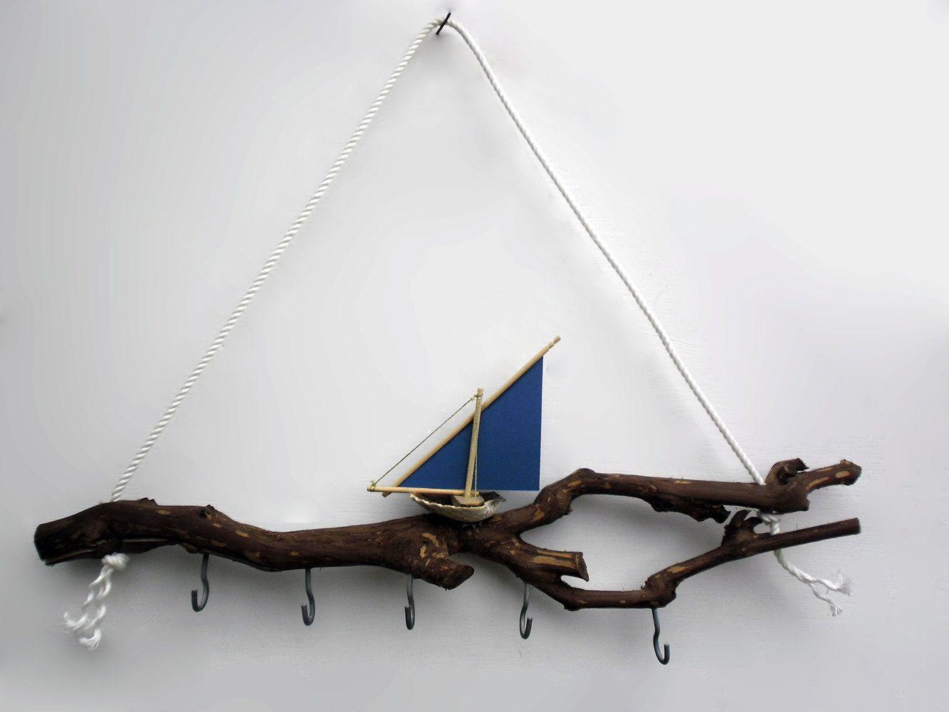 key rack, key hook, key holder - sailboat on the waves. $35.00, via Etsy.