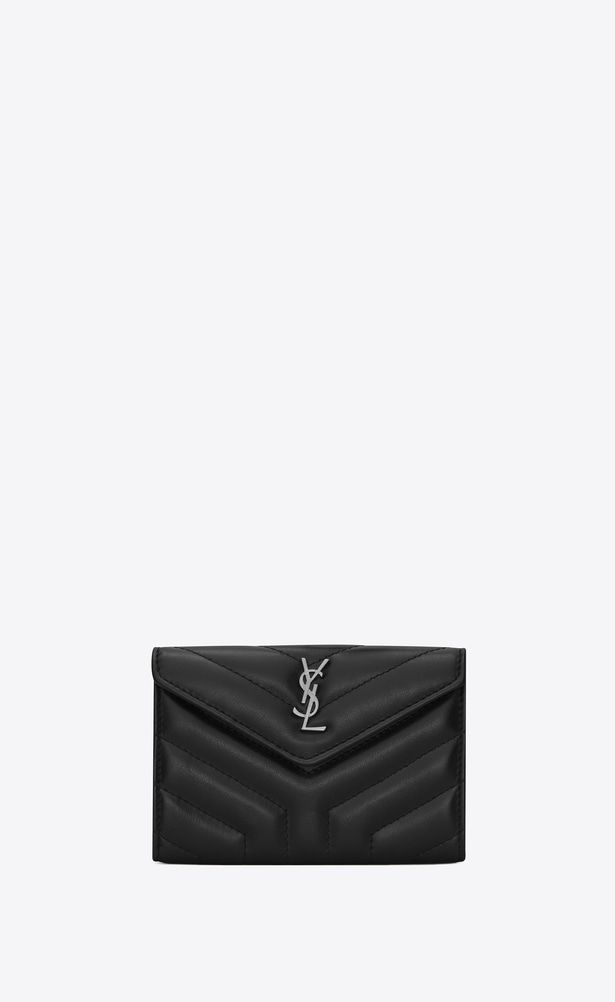 """eb80812c0a9 SAINT LAURENT Loulou SLG Woman Small LOULOU envelope wallet in shiny black """" Y"""" quilted leather a_V4"""