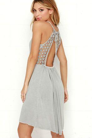 edeb3b8c92 O Neill Blossom Dress - Grey Dress - Lace Dress -  46.00
