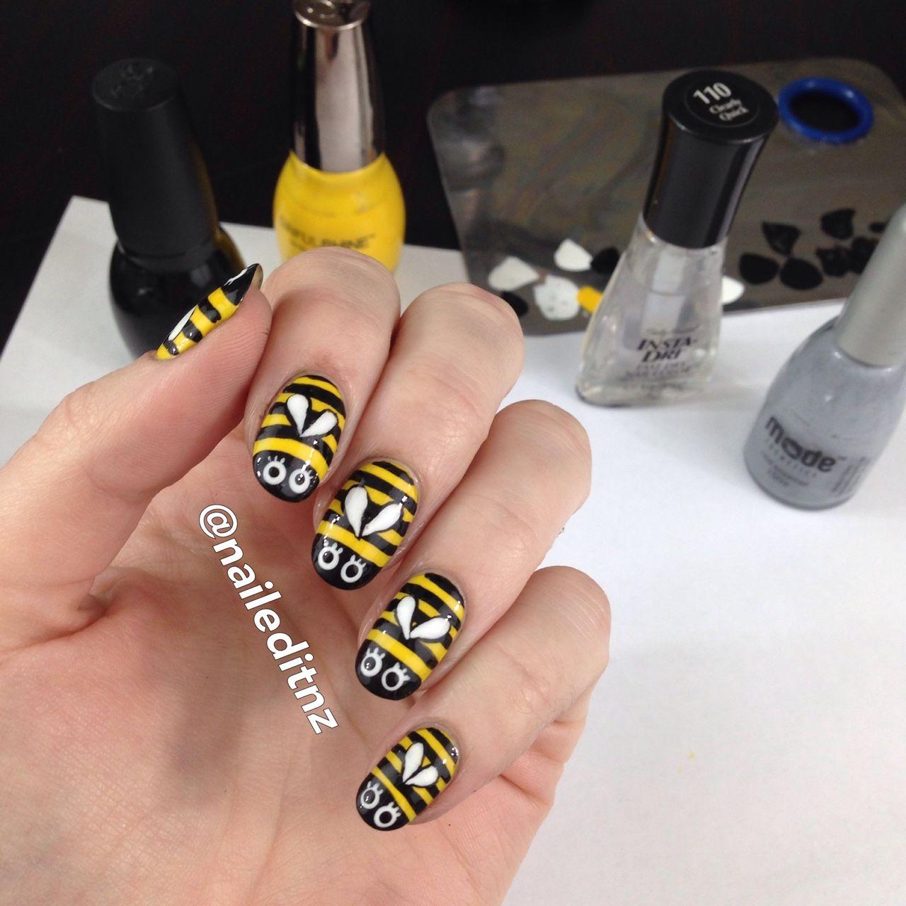 Cute Bumblebee Nail Art On A Lazy Saturday Nails Pinterest