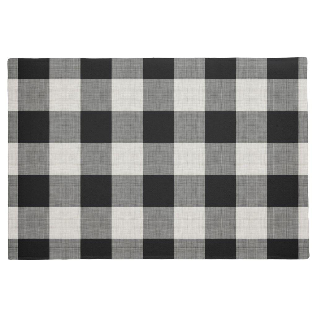 Black Buffalo Check Modern Farmhouse Doormat Farmhouse Doormats Personalized Door Mats Decor