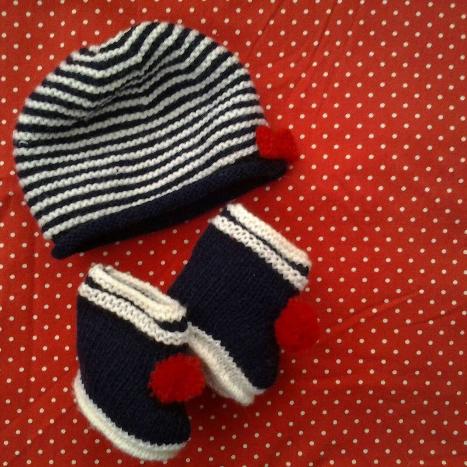 Bonnet et chaussons marins bébé naissance-3 mois acryli tricotés main ,  ensemble marin unisexe bonnet et chaussons pour bébé 0-3 mois de la  boutique ... 273d233adcf