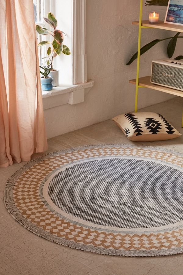Urban Outfitters Calisa Block Printed Rug in 2020 Round