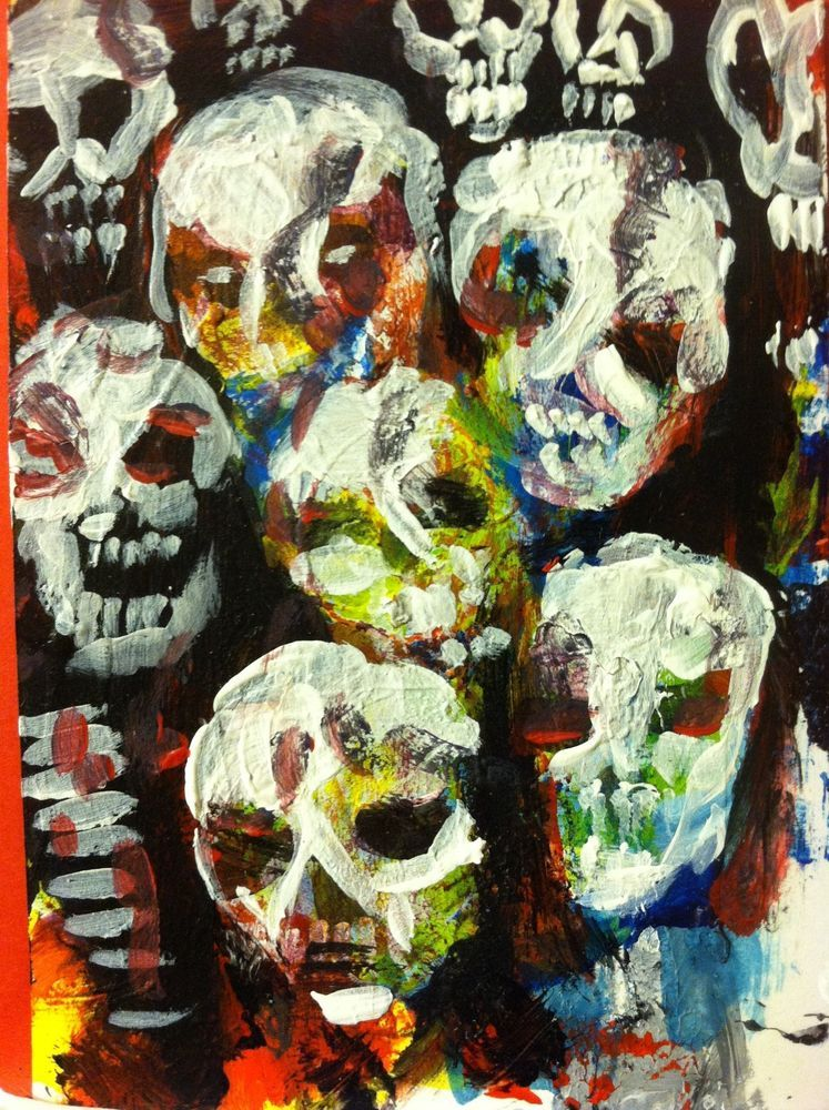 """#ZOMBIEART abstract,   original art,ACEO  jack larson 3.5""""x2.5"""" #Abstract"""
