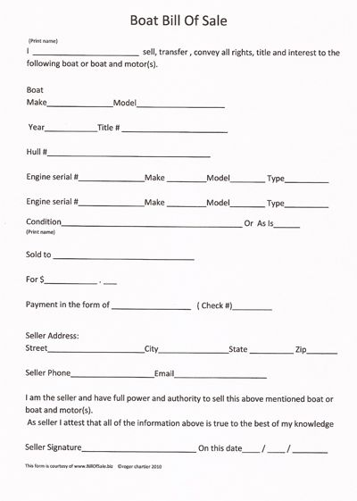 Printable Sample Boat Bill Of Sale Form – Motorcycle Bill of Sales