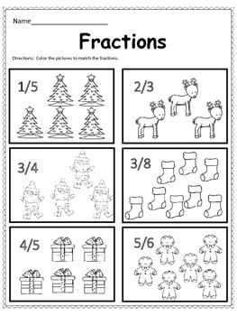Free Christmas Math Fractions Christmas Math Math Fractions Fractions
