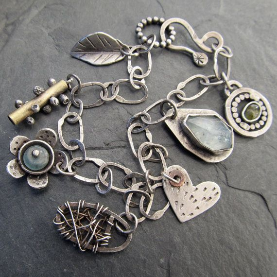 Wire Bracelets With Charms: Sterling Silver Charm BRACELET Funky Artsy Wire Wrapped