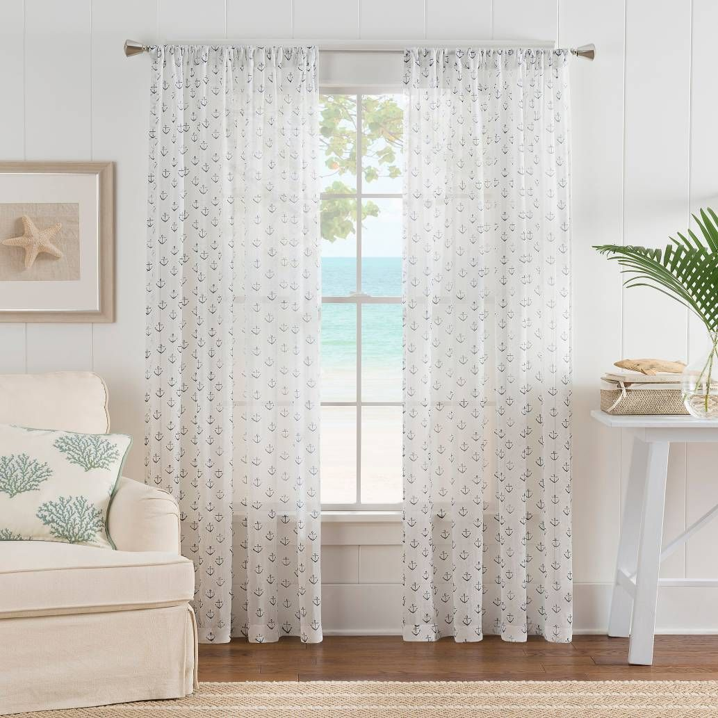 Product Image For Nautical Anchor Rod Pocket Sheer Window Curtain Panel In White Blue