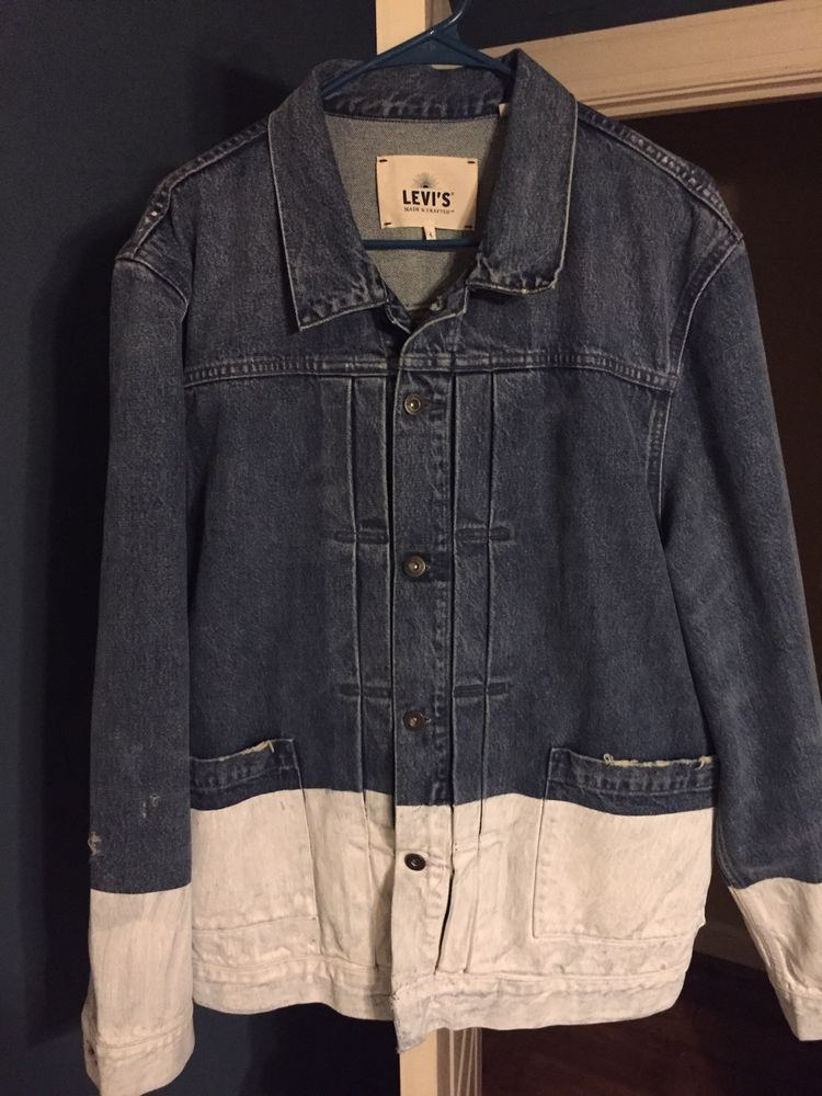 52f99181a4 Levis Made and Crafted Distressed Painted Denim Trucker Jacket Size ...