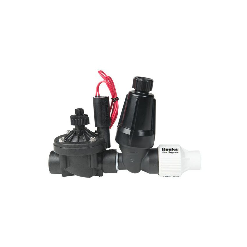For the demanding requirements of commercial job sites, Hunter's ICZ Drip Control Zone Kits are here. The convenient all-in-one kits, offer the superior performance of the Hunter ICV valves along with a stainless steel filter and pressure regulator. Because these kits include pressure regulation that ensures a consistent 25 or 40 PSI, the ICZ makes it possible to accommodate drip needs in an environment where it would normally be difficult to do so.