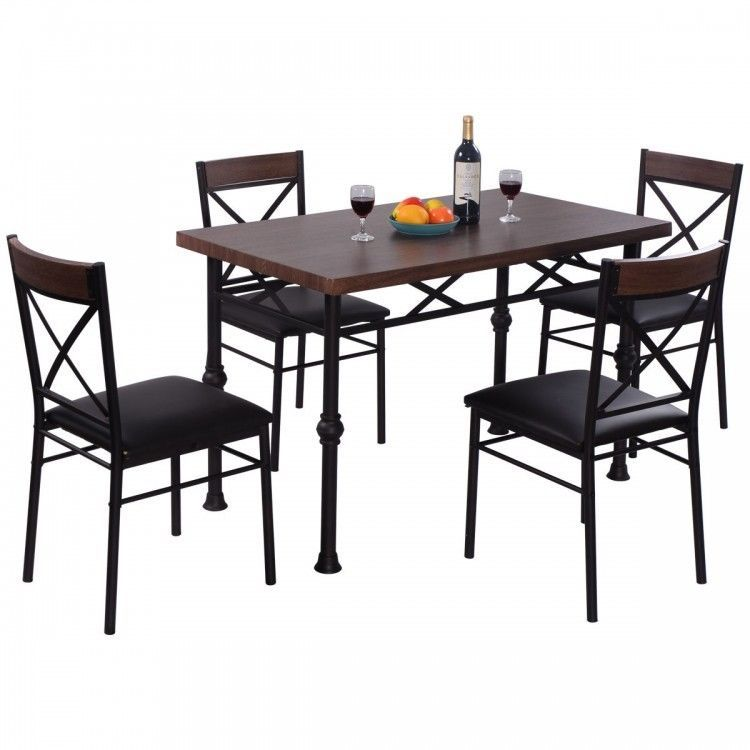 5 PC Dining Set Table Cross Back Chairs Kitchen Room Breakfast Furniture  Metal