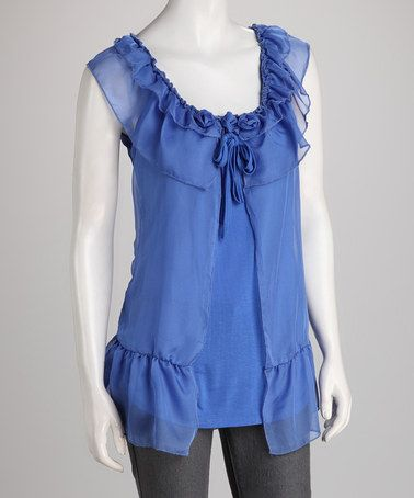 Take a look at this Blue Ruffle Tunic by Jazzy Martini on #zulily today!  $9.99, regular 44.00