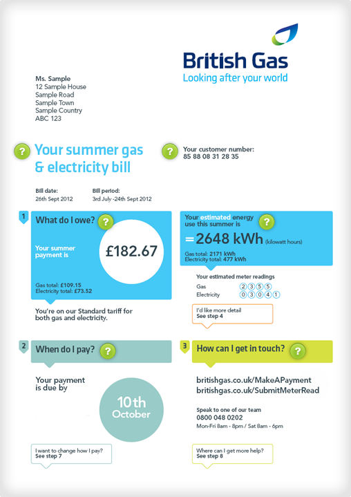 Understanding your bill British Gas Gas bill