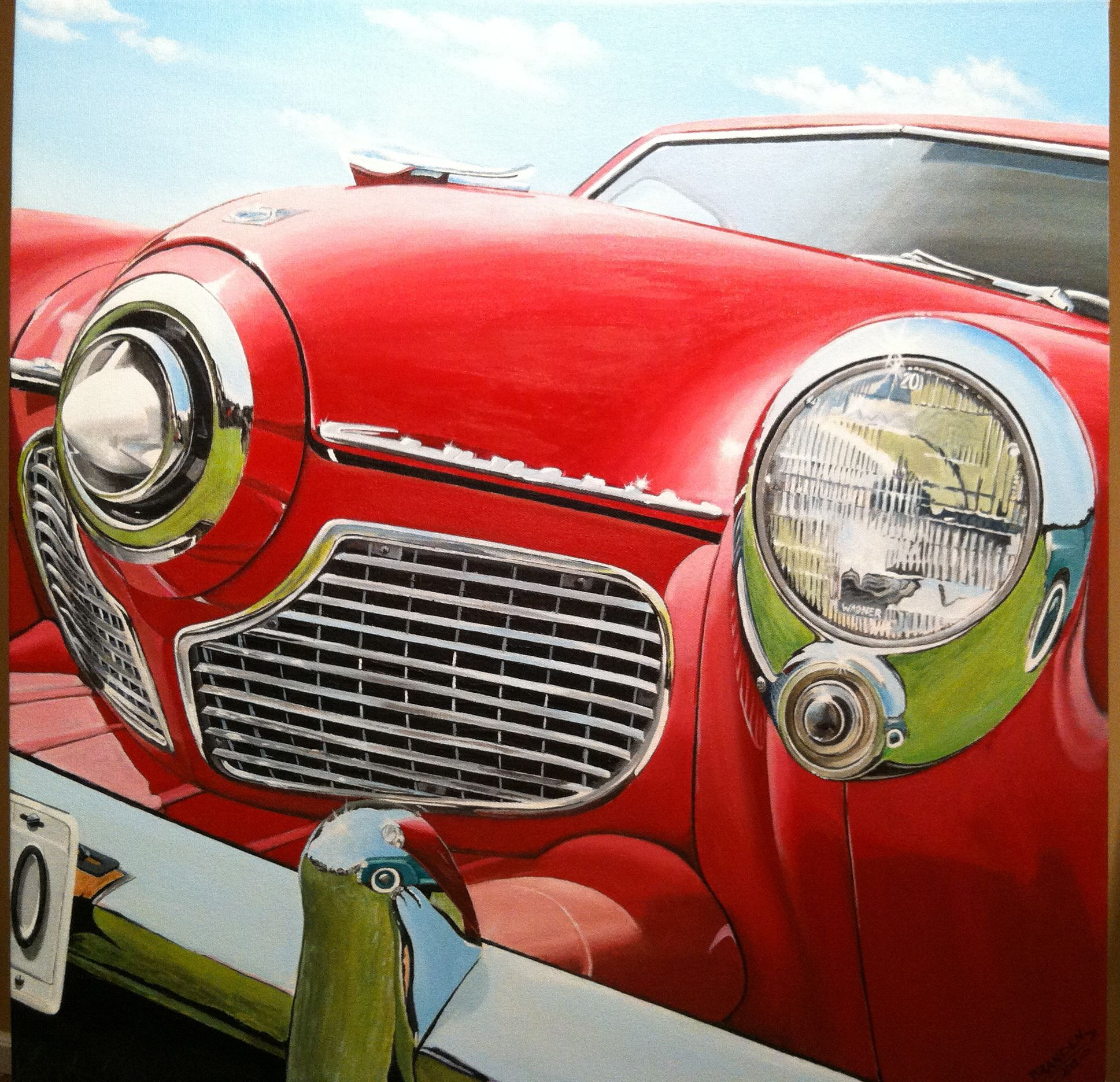 A 1951 Studebaker Commander. Acrylic on canvas. My website is www.autoartpaintings.com