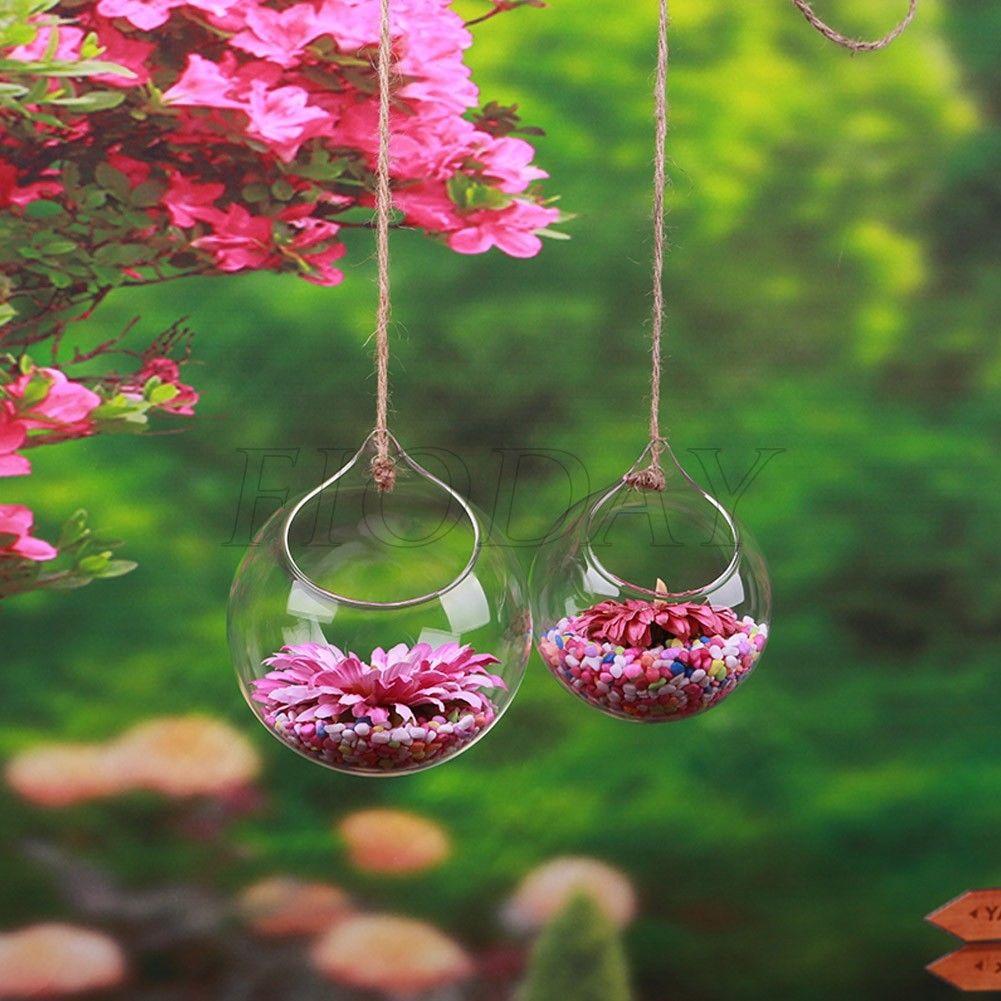 Hanging Plant Flower Glass Ball Vase Terrarium Wall Fish Tank Aquarium Container