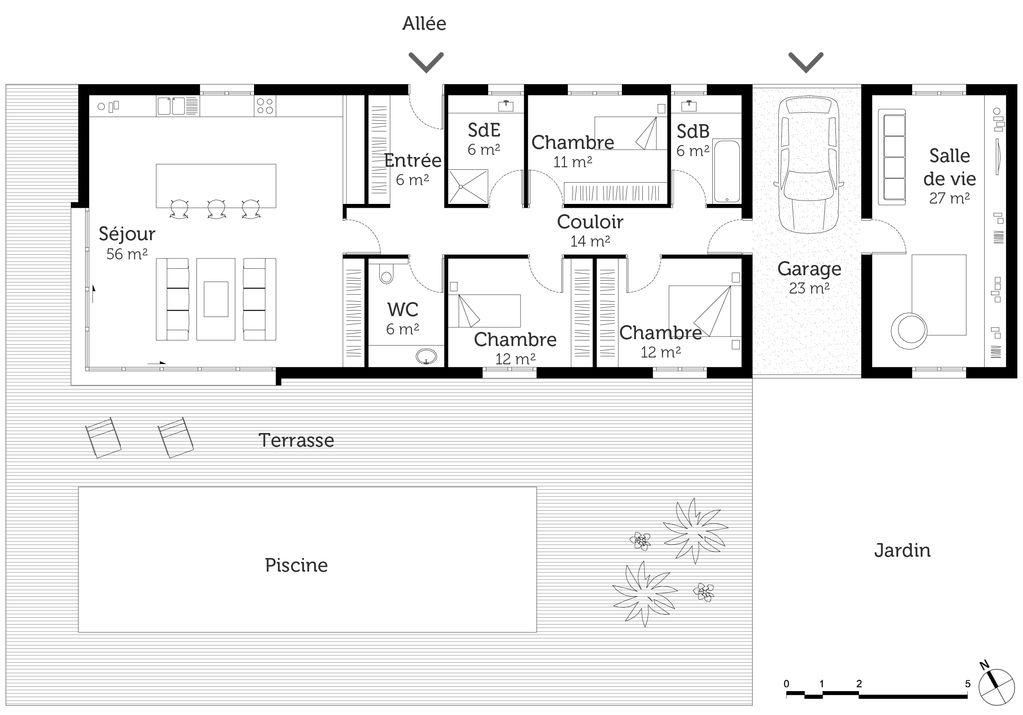 Plan Maison Plain Pied 12m De Facade Plan Maison Plain Pied Maison Plain Pied Plan Maison