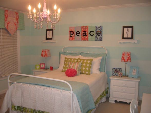 Blue Coral White Green Teen Tween Girl S Room Tween Room